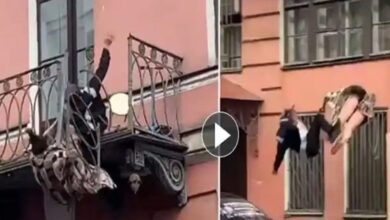 Photo of Video of A Couple Falling from Balcony While Arguing Goes Viral