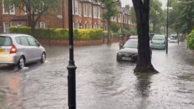 Photo of Roads in London Flooded Due to Torrential Rains, Train Service Suspended